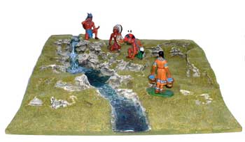 JG Miniatures - S18 Waterfall - diorama with new Lineol and Rylit Indians