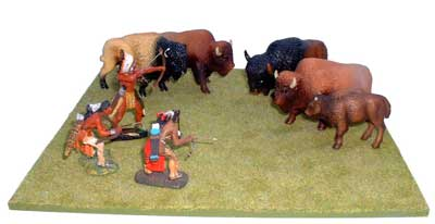 JG Miniatures - S19 - Green grass base - diorama with new Lineol, Rylit and Janetzky Arts Indians