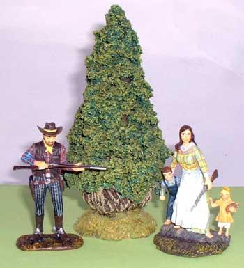 JG Miniatures - S43 - Lawson cypress tree - diorama avec figurines Janetzki Arts au 1-30ème