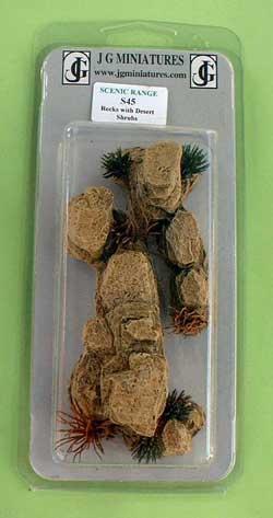 JG Miniatures - S45 - Rocks with desert shrubs