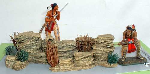 JG Miniatures - S45 - Rocks with desert shrubs - diorama avec figurines Rylit et Lineol