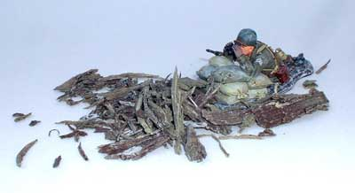 JG miniatures - M38 k - Shattered Timbers Pack - diorama avec un soldat US de King and Country au 1-30ème