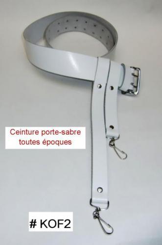 KOF2 - Ceinture porte-sabre toutes époques (napoléonienne, guerre de sécession ...) en croute de cuir de vachette - couleur blanche - EN STOCK