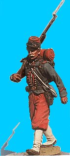 M01 - 14th Brooklyn Zouave - Marching. 54mm Union zouave (unpainted kit) - EN STOCK