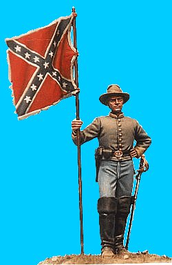 M23 - Confederate Cavalry standard bearer (dismounted) including flag. Kepi head and slouch-hat head provided (supplied with flag). 54mm Confederate cavalry dismounted (unpainted kit) - non disponible