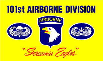 MF020 - 101st Airborne - Screaming Eagles (Yellow) Flag - Drapeau de la 101ème Aiborne - Screaming Eagles (Jaune)
