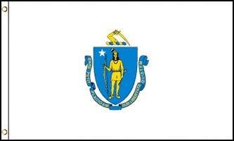 Masssachusetts Flag - Drapeau de l'état américain du MASSACHUSETTS - EN STOCK