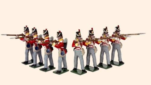 Tradition of London - 708 - British Line infantry Painted (Eight Privates standing Firing 1815) - EN STOCK