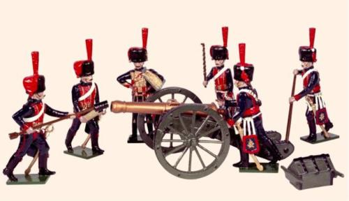 Tradition of London - N3A - French Horse Artillery Painted (An Officer and five Gunners in action with field gun) - EN STOCK