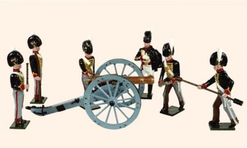 Tradition of London - set N° B2A -  The Royal Troops of the Artillery (An Officer, five Gunners and a 9 pdr. gun, 1815), Painted - EN STOCK