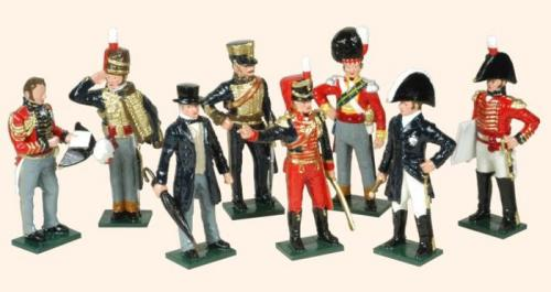 Tradition of London - set N° 752 - Wellington At Waterloo (Wellington, General Uxbridge, General Picton, General of Infantry, Lord Combermere, Colonel Brigadier of Highlanders, Hussar Officer, Staff Officer), Painted - EN STOCK