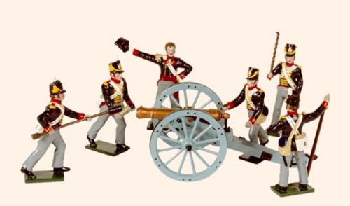 Tradition of London - set N° B3A - Royal Artillery 1815 (An Officer and five Gunners with a 9 pdr gun), Painted - EN STOCK