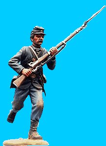 U29 - Running - rifle at ready. 54mm Union infantry (unpainted kit). (removeable blanket roll) - EN STOCK