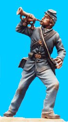 U30 - Bugler - Attacking. 54mm Union infantry (unpainted kit) - EN STOCK