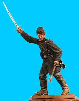 U31 - Officer defending - Sword drawn. 54mm Union infantry (unpainted kit) - EN STOCK