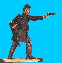 U32 - Officer defending - Revolver at ready, firing revolver (2 arms supplied). 54mm Union infantry (unpainted kit) - EN STOCK