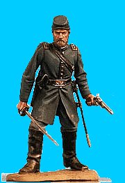U33 - Officer defending - Sword and revolver drawn. 54mm Union infantry (unpainted kit) - EN STOCK