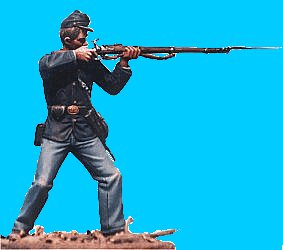 U34 - Union infantry firing. 54mm Union infantry (unpainted kit) - EN STOCK