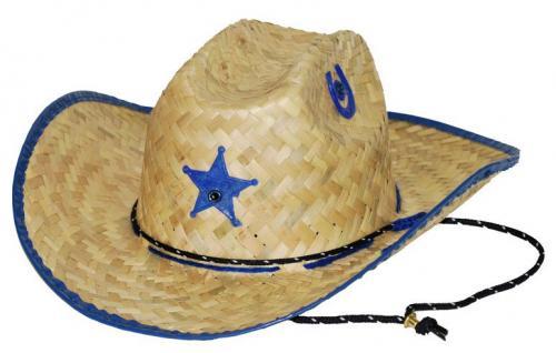 Chapeau cowboy - Kids Palm Straw Hat Sheriff Blue