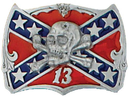 Boucle de ceinture - Belt Buckle G-548 Skull on Confederate Flag