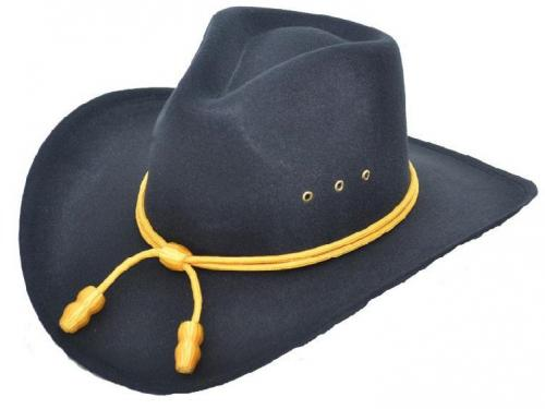 Chapeau cowboy -Black Finch faux Felt with Cavalry band