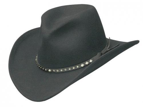 Chapeau cowboy - Black Pinch Fr Wool Hat with silver diamond Conchos