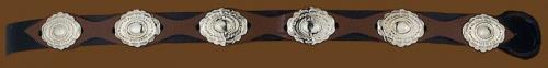 Hatbands OC-200 Black and Brown Hatband with Silver oval Conchos adjustable