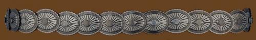 Hatbands OC-309 Elastic Concho Hatband Antique Silver Finish