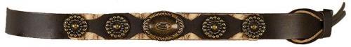 Hatbands OC-933 Brown Hatband Antique Bronze Conchos