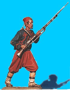 Z02 - 5th NY Charging - Rifle at ready. 54mm Union zouaves (unpainted kit) - EN STOCK