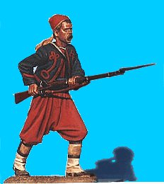 Z03 - 5th NY Charging - Rifle levelled. 54mm Union zouaves (unpainted kit) - EN STOCK