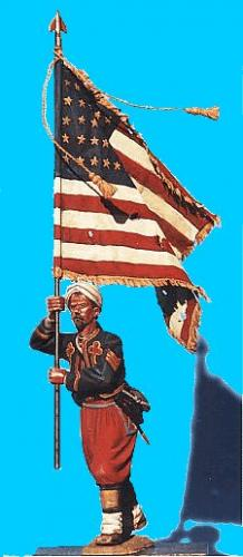 Z05 - 5th NY Charging, Flag bearer (2 heads supplied). 54mm Union zouaves (unpainted kit). Supplied with sheet lead flag.  (supplied with lead sheet flag, for photo etched alternative click onto F3, F4 Union infantry flag) - PAS DE STOCK