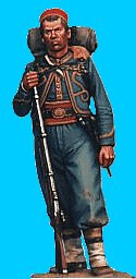 Z08 - 146th NY Standing relaxed (with knapsack). 54mm Union zouaves (unpainted kit) - EN STOCK