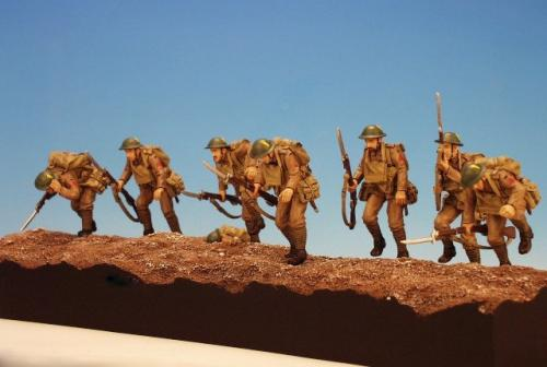 FF.1 - Company of the Lancaster Fusiliers going over the top on the 1st July, Battle of the Somme 1916